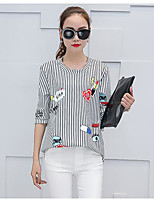Women's Casual/Daily Simple T-shirt,Striped Round Neck 3/4 Length Sleeves Cotton