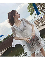 Women's Casual/Daily Sexy Blouse,Solid V Neck Half Sleeves Polyester