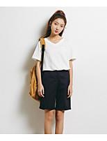 Damen Solide Einfach Lässig/Alltäglich T-shirt,V-Ausschnitt Kurzarm Baumwolle