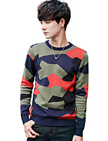 cheap -Men's Daily Going out Casual Active Street chic Regular Pullover,Print Color Block Camouflage Round Neck Long Sleeves Polyester Spandex
