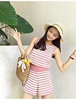 Women's Going out Simple Summer T-shirt Pant Suits,Striped Strap Sleeveless