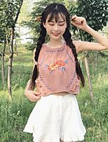 Women's Going out Vintage Simple Tank Top,Solid Embroidery Off Shoulder Sleeveless Cotton Linen