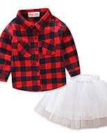 Ensembles Fille A Carreaux Coton Polyester Printemps Toutes les Saisons Manches longues Ensemble de Vêtements