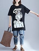 Women's Going out Street chic Summer T-shirt,Print Round Neck Half Sleeves Others Opaque