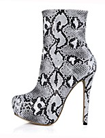 Women's Shoes PU Fall Winter Fashion Boots Boots Round Toe Booties/Ankle Boots For Party & Evening Dress Black/White