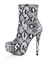 Damen Schuhe PU Herbst Winter Modische Stiefel Stiefel Runde Zehe Booties / Stiefeletten Für Kleid Party & Festivität Schwarz/weiss