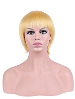 Women Synthetic Wig Capless Short Straight Yellow Natural Hairline Layered Haircut Party Wig Halloween Wig Natural Wigs Costume Wig