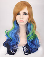 Women Synthetic Wig Capless Long Wavy Blue Cosplay Wigs Costume Wig