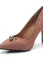 Feminino Sapatos Couro Ecológico Primavera Outono Conforto Saltos Salto Agulha Dedo Apontado Para Casual Preto Cinzento Nú