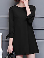 Women's Plus Size Going out Simple Sheath Dress,Solid Round Neck Above Knee 3/4 Length Sleeves Polyester Fall Mid Rise Inelastic Medium