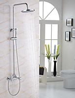 Modern/Comtemporary Shower System Rain Shower Widespread Handshower Included Two Holes for  Chrome , Shower Faucet