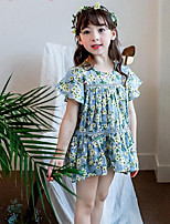 Girl's Floral Dress,Cotton Summer Short Sleeve