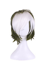 Men Synthetic Wig Capless Short Wavy Natural Wave Green Highlighted/Balayage Hair Layered Haircut Party Wig Halloween Wig Cosplay Wig