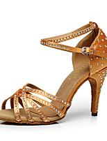 Women's Latin Silk Heel Indoor Buckle Brown Black Customizable