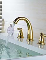 Widespread Widespread with  Brass Valve Two Handles Three Holes for  Ti-PVD , Bathroom Sink Faucet