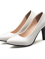 Women's Shoes Leatherette Spring Basic Pump Heels Stiletto Heel Pointed Toe For Office & Career Dress Beige White