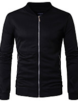 Men's Casual/Daily Simple Sweatshirt Solid Stand Micro-elastic Rayon Long Sleeve Spring Fall
