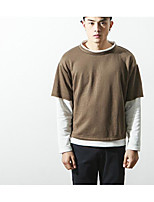 Men's Going out Sweatshirt Color Block Round Neck Micro-elastic Cotton Long Sleeve Fall