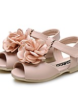Girls' Shoes Leatherette Summer Comfort Flower Girl Shoes First Walkers Sandals Flower For Wedding Dress Light Blue Blushing Pink Beige