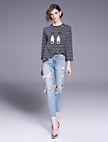 FRMZ Women's Going out Casual/Daily Simple Spring Fall T-shirt,Striped Print Color Block Round Neck Long Sleeves Cotton Others Medium