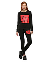Women's Sports Casual/Daily Street chic Fall Winter Hoodie Pant Suits,Quotes & Sayings Round Neck Long Sleeve