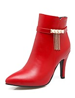 Women's Shoes PU Fall Winter Comfort Boots Stiletto Heel Pointed Toe Zipper Chain For Outdoor Office & Career Red Brown Beige Black