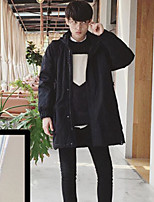 Men's Padded Coat,Street chic Going out Solid-Others Polypropylene Long Sleeves