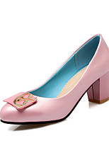 Women's Shoes Patent Leather Spring Fall Comfort Heels Chunky Heel Round Toe For Outdoor Office & Career Blushing Pink Blue Black White