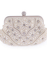 Women Bags All Seasons Polyester Evening Bag Appliques Crystal Detailing Pearl Detailing for Wedding Event/Party White