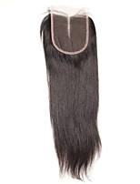 1 peça 4x4 cabelos peruanos cabelos lisos tecelagem fechamento cabelo não processado remy cabelo nodoso nó top fechamentos parte do meio