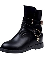 Women's Shoes PU Fall Winter Fashion Boots Boots Flat Heel Round Toe For Party & Evening Wine Black