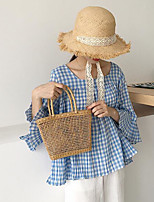 Women's Casual/Daily Simple Shirt,Print Plaid Round Neck Short Sleeves Cotton Others