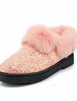 Feminino Sapatos Courino Outono Inverno Conforto Botas Salto Grosso Ponta Redonda Botas Curtas / Ankle Para Social Festas & Noite Branco