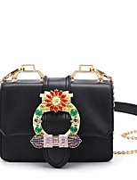Women Bags All Seasons PVC Shoulder Bag Crystal/ Rhinestone for Event/Party Casual White Black