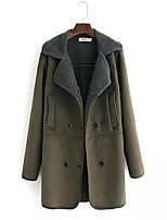 Women's Going out Casual/Daily Simple Spring Fall Fur Coat,Solid Notch Lapel Long Sleeve Long Cotton