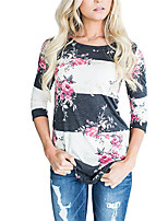Women's Casual/Daily Simple T-shirt,Floral Round Neck Long Sleeves Polyester