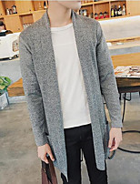Men's Holiday Regular Cardigan,Solid Round Neck Long Sleeves Others Spring Fall Medium Micro-elastic