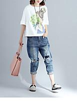 Damen Solide Druck Chinoiserie Ausgehen T-shirt,Rundhalsausschnitt Halbe Ärmel Baumwolle