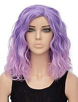 Women Synthetic Wig Capless Short Water Wave Pink / Purple Ombre Hair Halloween Wig Costume Wig