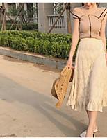 Manches Ajustées Jupe Costumes Femme,Couleur Pleine Décontracté / Quotidien simple Eté Sans Manches Bateau Micro-élastique