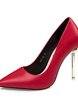Women's Shoes Leatherette Spring Fall Comfort Heels Stiletto Heel Pointed Toe For Dress Green Red Brown Gray Black