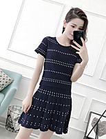 Women's Going out Casual/Daily Vintage Summer Blouse Skirt Suits,Plaid/Check Round Neck Short Sleeve Micro-elastic