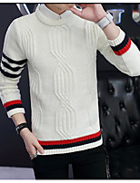 Men's Going out Regular Pullover,Color Block Round Neck Long Sleeves Others Spring Winter Medium Micro-elastic