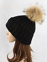 Women Wool Acrylic Raccoon Fur Floppy Hat Ski Hat,Hat Knitwear Hats Solid Fall Winter Pure Color