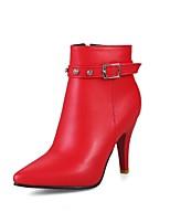 Damen Schuhe Kunstleder Herbst Winter Modische Stiefel Stiefel Stöckelabsatz Spitze Zehe Booties / Stiefeletten Schnalle Für Normal Kleid