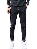 Men's Mid Rise Micro-elastic Skinny Chinos PantsSimple Slim Solid WL-M20