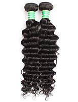 8A Brazilian Virgin Hair Deep Wave 2 Bundles Afro Curly Human Hair Extensions Natural Black 200G/lot