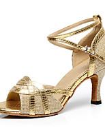 Da donna Balli latino-americani Lustrini PU (Poliuretano) Tacchi Per interni Con fermaglio di chiusura A fantasia Oro Nero Argento Grigio