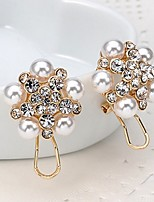 Women's Drop Earrings Imitation Pearl Rhinestone Fashion Bohemian Alloy Flower Jewelry For Wedding Party