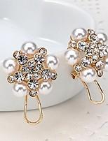 Per donna Orecchini a goccia Strass Perle finte stile della Boemia Di tendenza Lega A forma di fiore Gioielli Per Matrimonio Feste